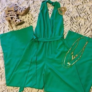 Green Jumpsuit Halter Hot & Delicious S Sexy Sweet